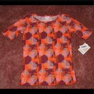LuLaRoe orange and pink geometric Gigi tee